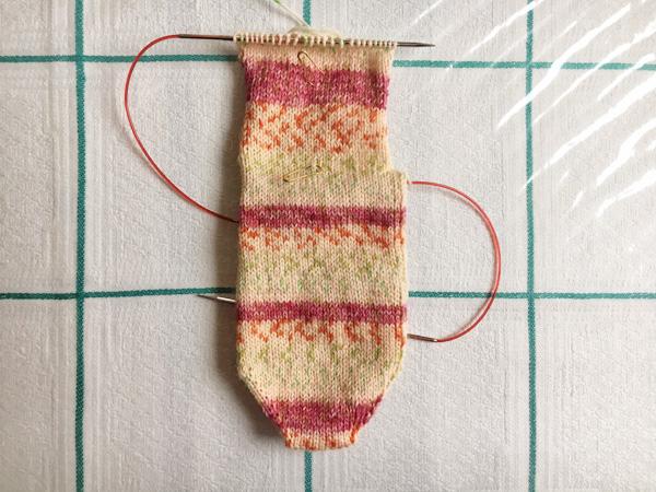ヒールフラップ準備の開始位置の計算の仕方 ~つま先から編む靴下の場合