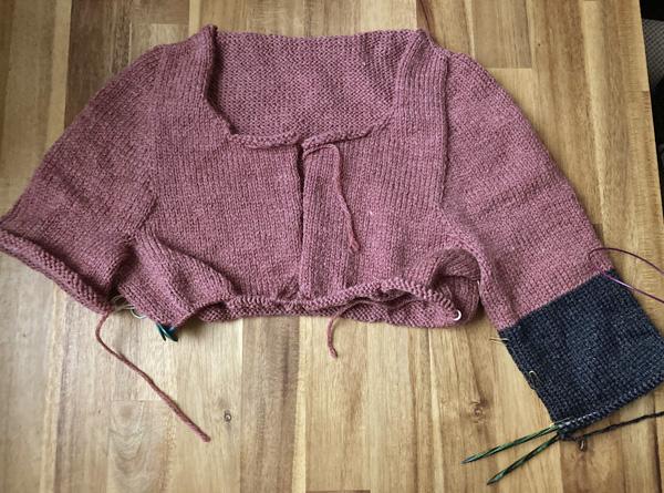 色変えのタイミングで袖の同時編みをやめました ~Driftwood
